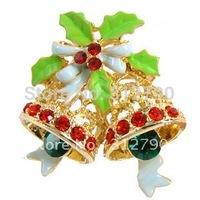 12pcs/lot Retro Multicolor Crystal Christmas Bell rhinestone Vintage Brooches Pins Fashion Jewelry Christmas decoration