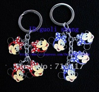 Free shipping Wholesale cartoon mixed cute metal brand new 20pcs Minnie  key chains B