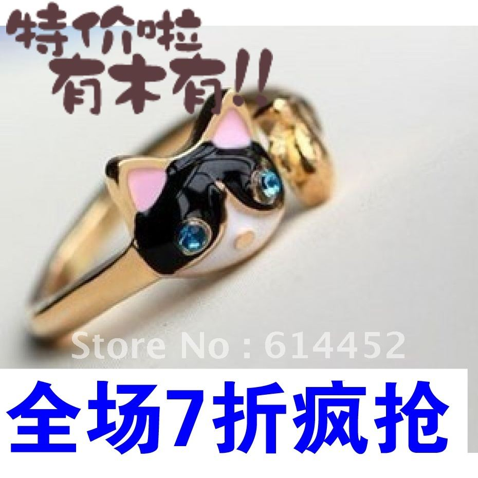 (min USD15) Hot-selling fashion personality kitten fish ring small accessories oil(China (Mainland))