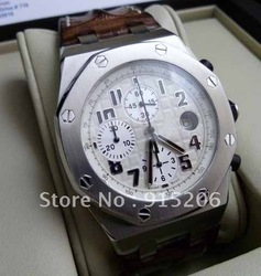 Luxury Dress Styles Oak Offshore Safari 26170ST.OO.D091CR.01 Stainless Chrono Band Leather Chronograph Date Men's promotional(China (Mainland))