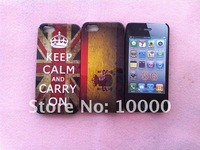 Keep Calm And Carry On Case for iPhone 5,Retro UK Flag hard cover for iphone 5+Free Shipping