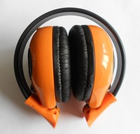Dual Channel Foldable infrared wirless headphone with baclk/orange colors,use in Car