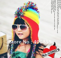 12pcs/lot New Fashion Children's hat,Colorful rainbow hat Mohicans wild ear hat, knitted winter cap super warm/discount shipping