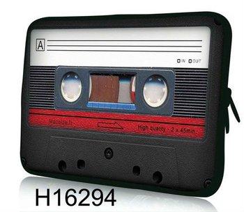 """Free Shipping,Hot Cassette Tape Shape 13""""13.3"""" Neoprene Laptop Sleeve Cover Case Notebook Bag"""