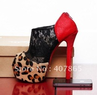 new style !! Fashion high-heeled shoes, leopard grain horsehair high-heeled shoes