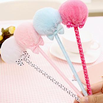 12 pcs/pack Korea stationery bow plush pen fur ball ballpoint pen portable pen (ZM-7942)