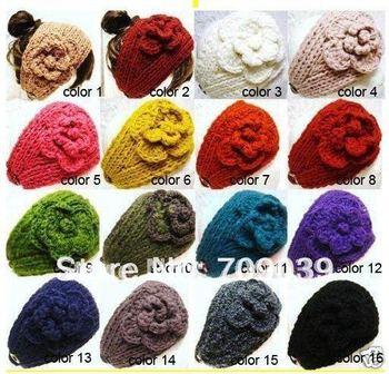 Free Shipping hot sale Handmade knit headdress Girl Flower headwrap headwear/Lady headband