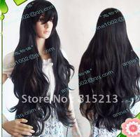 Air volume lolita costume black cosplay wig 80cm