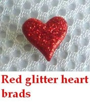 Wholesale Scrapbooking Glitter Heart Brads Beautiful heart Shaped Red Brads Free shipping