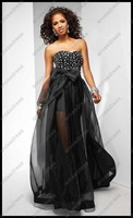 A-Line Beaded Sweetheart Black Prom Dress With Bow P2615