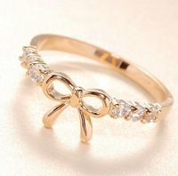 Min.order is $8 (mix order), Promotion Fashion Cute Ring, Simple Gold Rhinestone Bow Female Ring R068