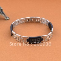 Free shipping New Fashion Silicone+316L Titanium steel accessories men bracelet, wholesale & ratail,Gift