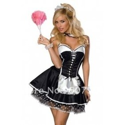 free shipping Sexy French Maid Women Adult Halloween Costume Dress /w Attached petticoat Full Set(China (Mainland))