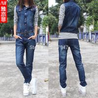 Free shipping Two ways jumpsuit detachable suspenders trousers denim straight pants women 3266 romper Wholesale