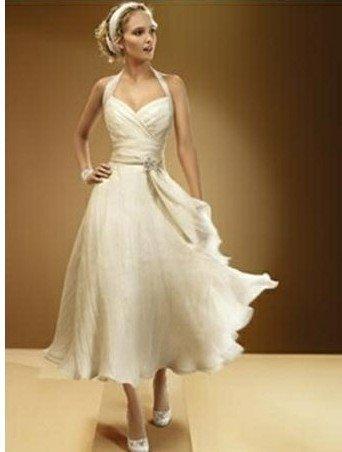 2011 Halter Tea Length Design Wedding Dress Bridal