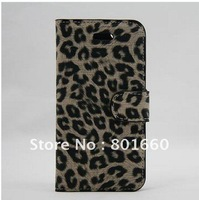 5 Colors Choice Leopard PU Leather Case Cover with Card Holder for Apple New iPhone 5 Free Shipping + Drop Shipping