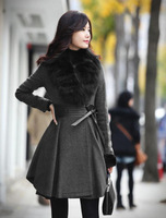 Women's Winter Elegant Slim Fit Long Fashion Coat Jacket Woolen Faux Fox Wool Collar Outwear free shipping,gray woolen coat