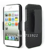 200pcs/lot lowest price newest design Slim Rubberized Shell &amp; Holster Combo Cover protective cover for iphone 5g stand cover