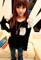 2013 patchwork loose  long-sleeve black autumn or winter women sweater ,S-802