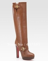 New style women's boots Brown leather with zipper Women's middle boots