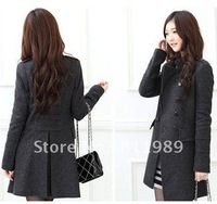 Free shipping . 2012 hotsales . Fashion women winter coat , fashion women's wool coat Leather clothing outerwear