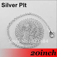 Free Ship! 100PCS 2mm 20'' Silver Plated Jewelry Link Curb Chain Necklace With Lobster clasp