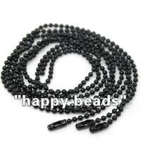 "Free Shipping 10 Strand Black Ball Beads Chain Necklace 2mm Bead Connector 70cm(27"")(W01757 X 1)"