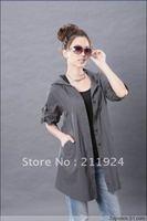 free shipping plus size female summer loose long-sleeve shirt hooded short jacket