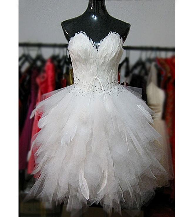 courte robe de mariée plumes en Ligne à des Grossistes courte robe ...