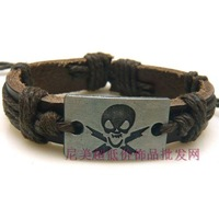 Fashion bracelet alloy genuine leather bracelet skull handmade knitted bracelet