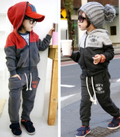 Cap zipper color block decoration super handsome child fleece sweatshirt casual set fashion male Women children's clothing