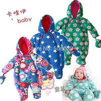 Free Shipping Retail 2014 Super smart baby thickening romper kids winter overall baby boy baby girl outwear newborn snowsuit