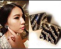 Free Shippig Square Leopard Oil Drip Stud Earrings,Square Diamond Earrings,Fashion Jewelry  24pcs/lot WE2037