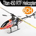 Titan 450 V2 RTF 6CH 2.4Ghz Remote Control 3D Align T-rex Single Blade Screw Propeller Gyro Servo Electric RC Helicopter