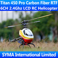 Titan 450 Pro Carbon Fiber RTF 6CH 2.4Ghz Remote Control 3D Fly Align T-rex Trex Single Screw Propeller Electric RC Helicopter