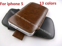 1000pcs/lot Pu Leather Pouch Sleeve Skin Bag Simple Elegent Cover Pull Tab Stuff Case For Apple iPhone 5G 5