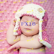Free shipping 30pcs/lot children's jewelry baby hand knitted hat infant crochet hat aviator style pilots crochet cap