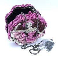 Gorgeous Crystals Pink Dancer Ballet Maiden Clutch Evening design Handbag Purse Xmas Gift