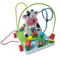 Mini animal Wooden Stringing beads toy!Free Shipping
