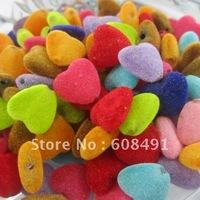 Free shipping 12MM jewelry velvet beads!Lovely heart shape acrylic wool velvet jewelry beads!Assorted colors velvet beads!