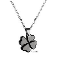 Free shipping wholesale  double layer black four leaf clover pendant male pendant male accessories titanium accessories