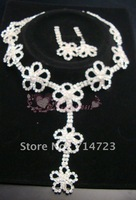 Free shipping Factory outlet priice 1SET silver plated  Bridal Drag Queen Clear Rhinestone Necklace  and  Earrings N059