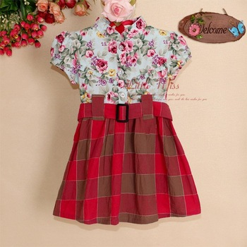 2013 New Kids Girls Flower Dresses Red Plaid Children's Girl Party Dress 5PCS/Lot Child Christmas Dresses GD21022-11^^LM