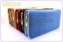 2012 NEW ARRIVAL HIGH END big size popular luxurious horse hair lady wallets with gift box package GQW02(China (Mainland))