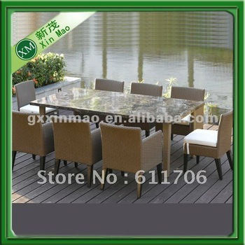 garden furniture marble top dining table set