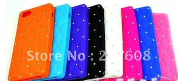 DHL Free shipping 100 pcs/lot Luxury bling diamond case for iphone 5 Babysbreath Silicone back cover