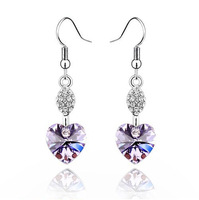 wholesale 1001 accessories customize drop crystal earrings - peach heart female earring