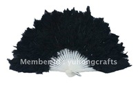 100pcs/lot black feather fan,dancing feather fan free shipping