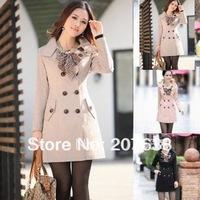 Women Casual Double-Breasted Long Jacket Coat Slim windbreaker Outwear With leopard scarf +Free Shipping