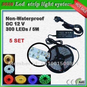 3528 SMD Led flexible strip System Set 60 leds/m_Multi-color Flexible LED Tape Strip_Strip+Power Supply